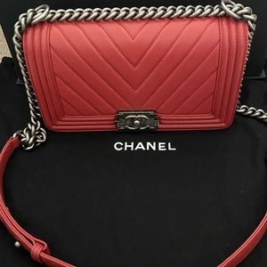 CHANEL Chevron Quilted Old Medium Boy Flap Red